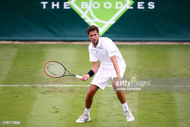 Robin Haase of the Netherlands plays a forehand during his match against Philipp Kohlschreiber of Germany during Day 1 of The Boodles Tennis Event at...