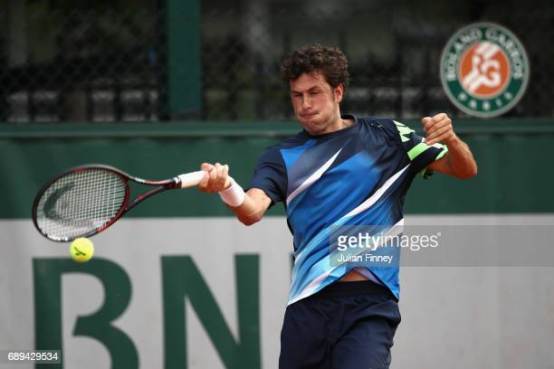 Robin Haase of The Netherlands plays a forehand during the mens singles first round match against Alex De Minaur of Australia on day one of the 2017...