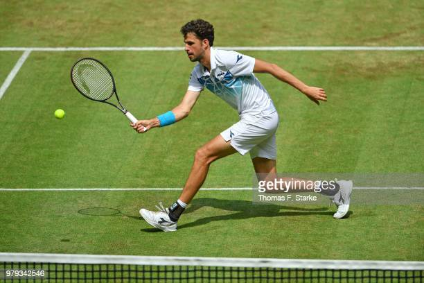 Roberto Bautista Agut of Spain plays a forehand in his match against Robin Haase of the Netherlands during day three of the Gerry Weber Open at Gerry...