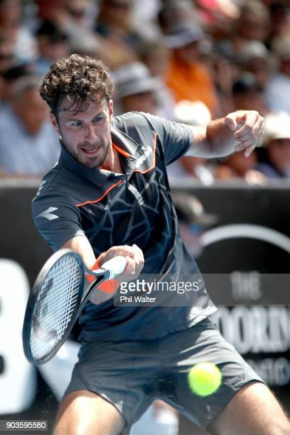 Robin Haase of the Netherlands plays a forehand in his quarterfinal match against Peter Gojowczyk of Germany of Spain during day four of the ASB...