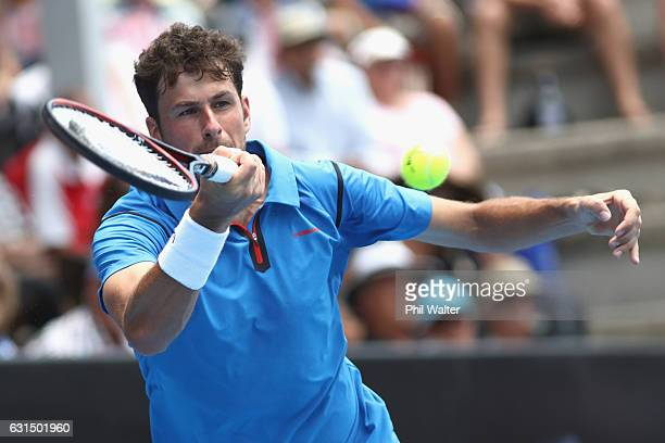 Robin Haase of the Netherlands plays a return during his mens singles match against Joao Sousa of Portugaduring the ASB Classic on January 12, 2017...
