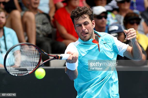 Robin Haase of the Netherlands plays a return during the mens singles match between Robin Haase of the Netherlands and David Ferrer of Spain on day...