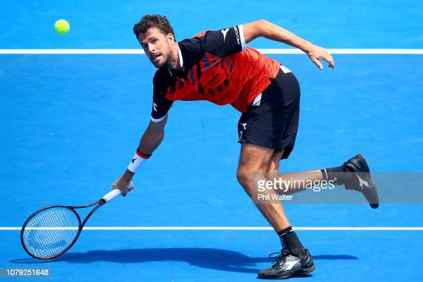 Robin Haase of the Netherlands plays a return in his Mens Singles match against David Ferrer of Spain during the 2019 ASB Classic at the ASB Tennis...