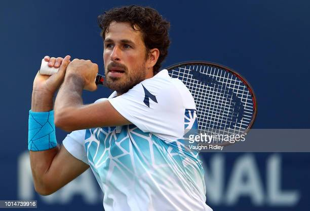 Robin Haase of The Netherlands plays a shot against Karen Khachanov of Russia during a quarter final match on Day 5 of the Rogers Cup at Aviva Centre...