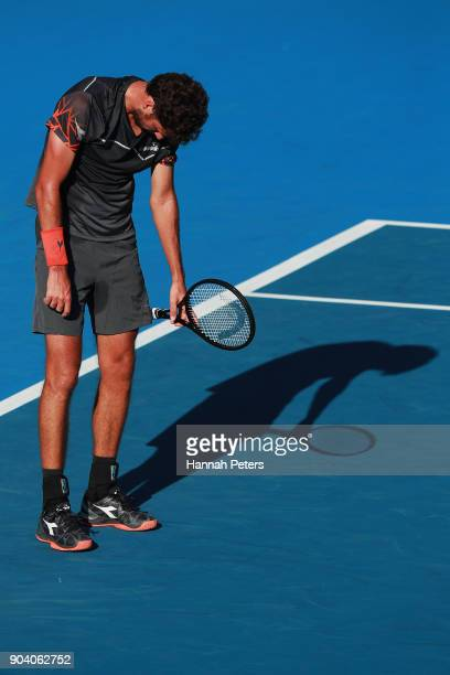 Robin Haase of the Netherlands reacts after losing a point during his semi final match against Roberto Bautista Agut of Spain during day five of the...