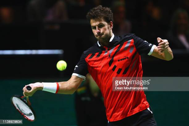Robin Haase of the Netherlands returns a forehand against Mikhail Kukushkin of Kazakhstan during Day One of the ABN AMRO World Tennis Tournament at...