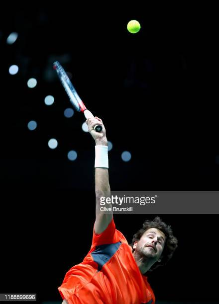 Robin Haase of the Netherlands serves during his Davis Cup Group Stage match against Daniel Evans of Great Britain during Day Three of the 2019 Davis...