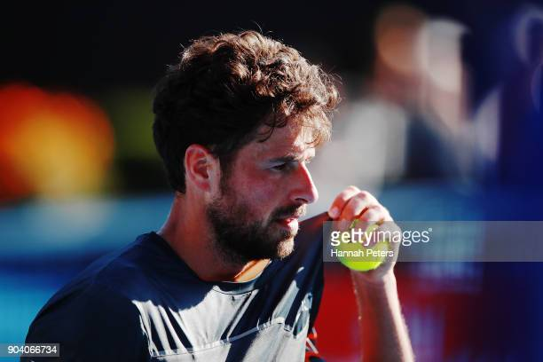 Robin Haase of the Netherlands serves during his semi final match against Roberto Bautista Agut of Spain during day five of the 2018 ASB Men's...