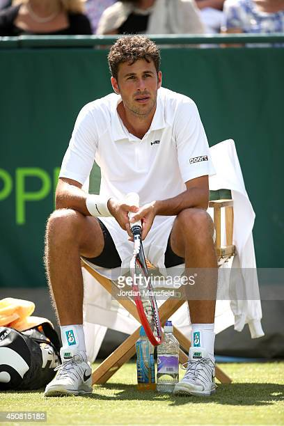 Robin Haase of the Netherlands sits in his chair during his match against Milos Raonic of Canada during day two of The Boodles Tennis Event at Stoke...
