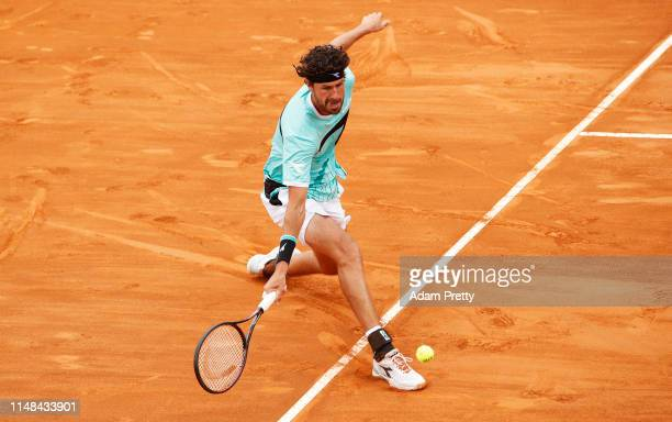 Robin Haase of the Netherlandshits a forehand during his match against Daniel Evans of Great Britain during mens qualifying at Foro Italico on May 11...