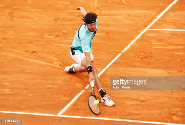 Robin Haase of the Netherlandshits a forehand during his match against Daniel Evans of Great Britain during mens qualifying at Foro Italico on May...