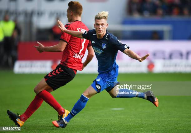 Robin Hack of 1899 Hoffenheim celebrates after scoring a goal during the Bundesliga match between SportClub Freiburg and TSG 1899 Hoffenheim at...