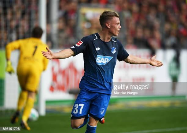 Robin Hack of 1899 Hoffenheim celebrates after scoring a goal during the Bundesliga match between SportClub Freiburg and TSG 1899 Hoffenheim at...