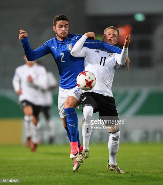 Robin Hack of Germany and Paolo Ghiglione of Italy vie for the ball during the Under 20 International Friendly match between U20 of Germany and U20...