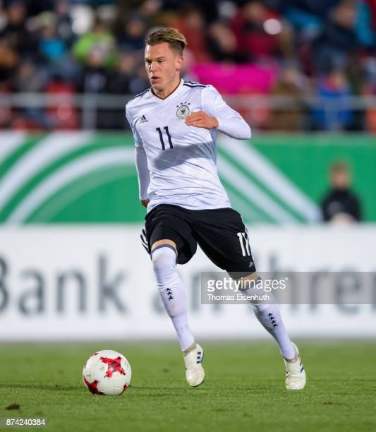 Robin Hack of Germany plays the ball during the Under 20 International Friendly match between U20 of Germany and U20 of England at Stadion Zwickau on...