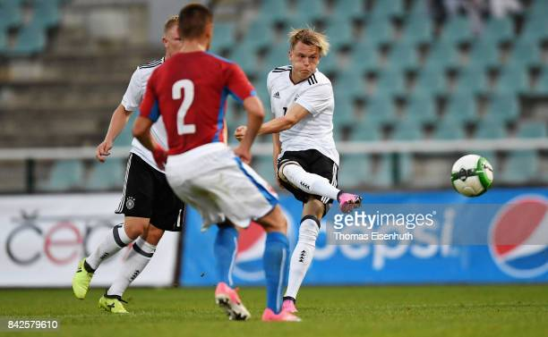 Robin Hack of Germany scores his team's second goal during the Under 20 Elite League match between U20 of the Czech Republic and U20 of Germany at...