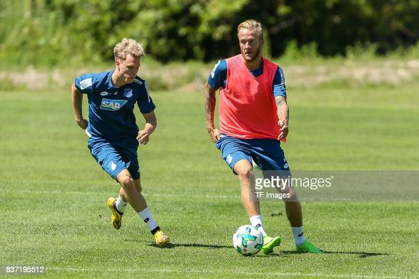 Robin Hack of Hoffenheim and Kevin Vogt of Hoffenheim battle for the ball during the Training Camp of TSG 1899 Hoffenheim on July 16 2017 in...