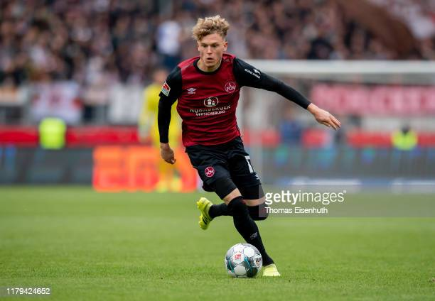 Robin Hack of Nuremberg in action during the Second Bundesliga match between 1 FC Nuernberg and FC St Pauli at MaxMorlockStadion on October 06 2019...