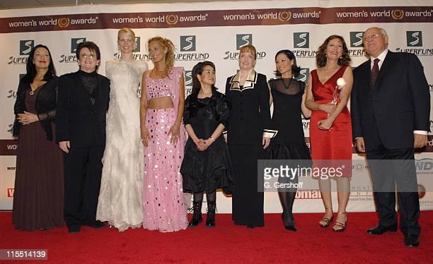 Robin Herbert Billie Jean King Claudia Schiffer Stella Deetjen Miky Lee Shana Dale Lucy Liu and Susan Sarandon and Mikhail Gorbachev