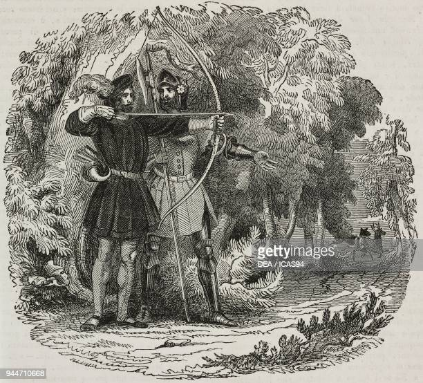 Robin Hood and Little John hunting in Sherwood Forest illustration from Teatro universale Raccolta enciclopedica e scenografica No 355 April 24 1841