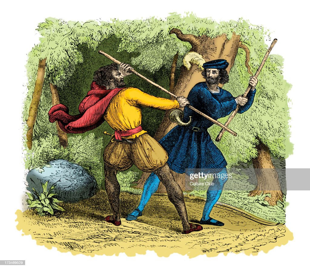 Robin Hood and the Tanner - quarterstaff : News Photo