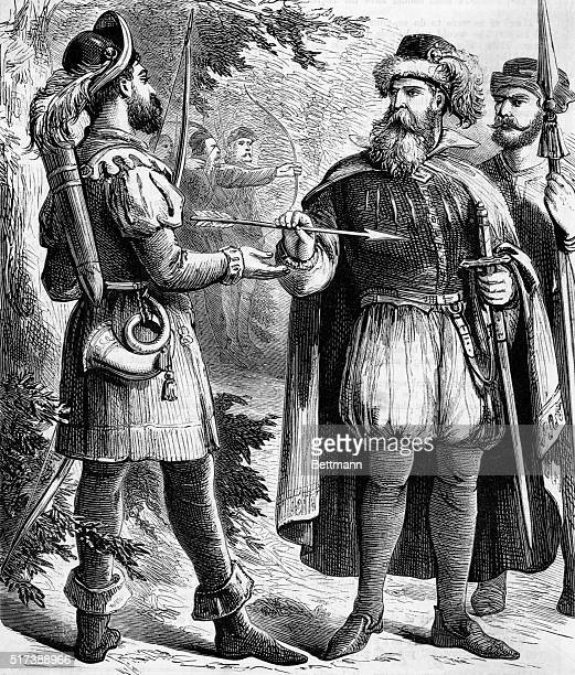 Robin Hood receiving the prize arrow from the Sheriff of Nottingham. Undated woodcut.