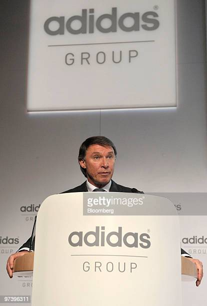 Robin J Stalker chief financial officer of Adidas AG speaks during the company's press conference to announce their results in Herzogenaurach Germany...