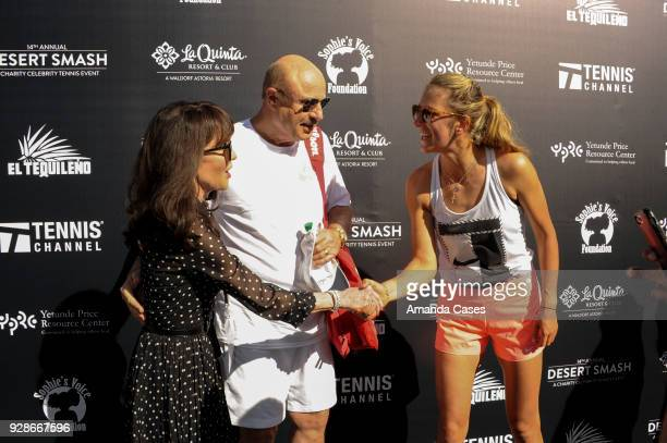 Robin Jameson McGraw Dr Phill McGraw and Victoria Azarenka arrive at The 14th Annual Desert Smash Celebrity Tennis Event on March 6 2018 in La Quinta...