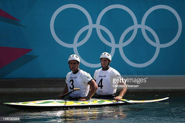 Robin Jeffrey and team mate Kynan Maley of Australia prepare during a Canoe Double practice session ahead of the 2012 London Olympic Games at the Lee...