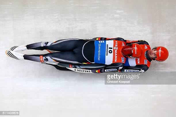 Robin Johannes Geueke and David Gamm of Germany compete during the men doubles first heat of the Viessmann Luge World Cup Day 1 at Veltins Eis-Arena...