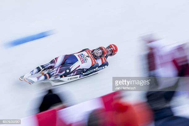 Robin Johannes Geueke and David Gamm of Germany compete in the first heat of the Men's Double Luge competition during the second day of the FILWorld...