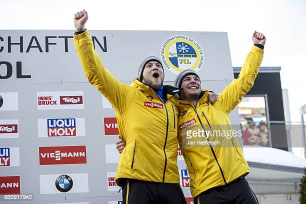 Robin Johannes Geueke and David Gamm of Germany pose for a picture during the victory ceremony of the Men's Double competition during the second day...