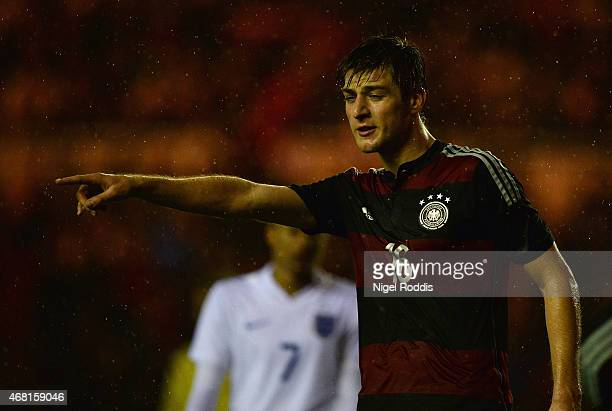 Robin Knoche of Germany looks on during the international friendly between England Under 21 and Germany Under 21 at Riverside Stadium on March 30...