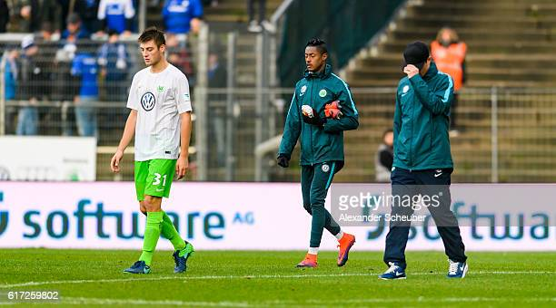 Robin Knoche of VfL Wolfsburg is disappointed during the Bundesliga match between SV Darmstadt 98 and VfL Wolfsburg at Stadion am Boellenfalltor on...