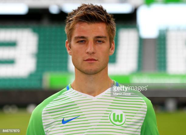Robin Knoche of VfL Wolfsburg poses during the team presentation at on September 13 2017 in Wolfsburg Germany