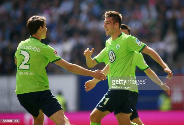 Robin Knoche of Wolfsburg celebrate his first goal scoring during the Bundesliga match between Hamburger SV and VfL Wolfsburg at Volksparkstadion on...