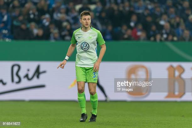 Robin Knoche of Wolfsburg gestures during the DFB Cup match between FC Schalke 04 and VfL Wolfsburg at VeltinsArena on February 7 2018 in...
