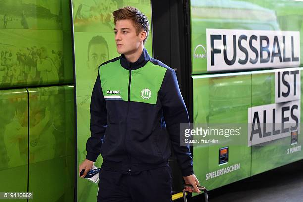 Robin Knoche of Wolfsburg is seen on arrival prior to the UEFA Champions League Quarter Final First Leg match between VfL Wolfsburg and Real Madrid...