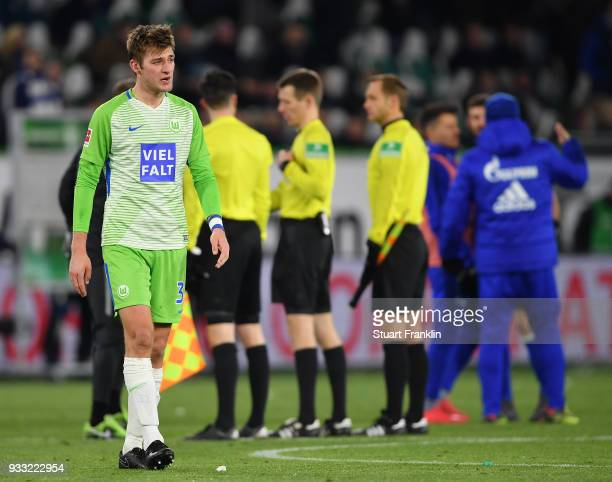 Robin KnocheÊof Wolfsburg looks dejected at the end of the Bundesliga match between VfL Wolfsburg and FC Schalke 04 at Volkswagen Arena on March 17...