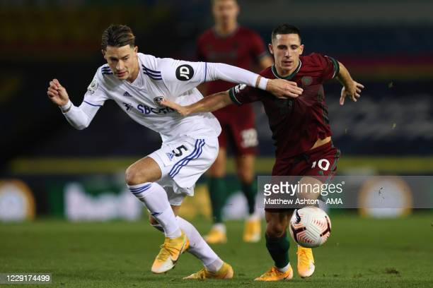 Robin Koch of Leeds United and Daniel Podence of Wolverhampton Wanderers during the Premier League match between Leeds United and Wolverhampton...