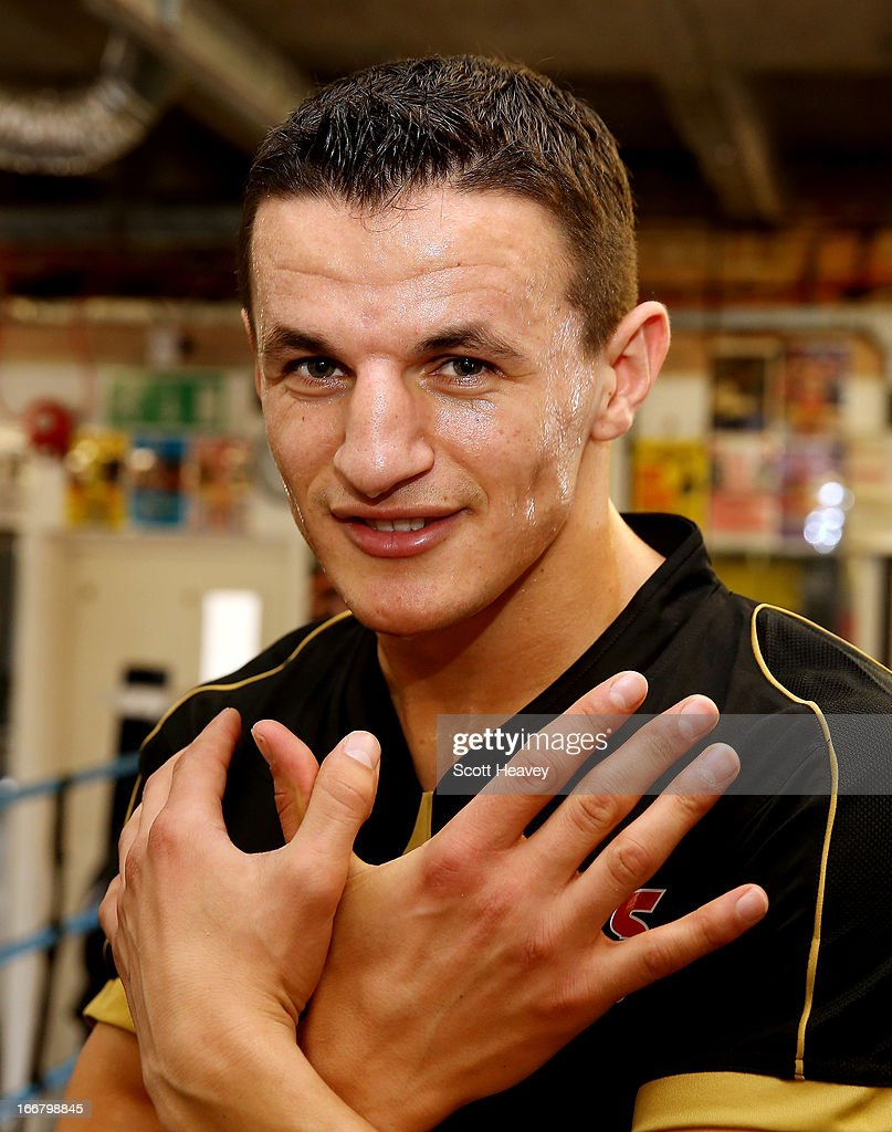 Robin Krasniqi poses during a media workout at the Stonebridge ABC Boxing Gym on April 17, 2013 in London, England.