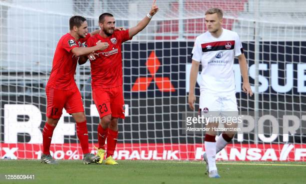 Robin Krausse of Ingolstadt celebrates after scoring his teams third goal during the 2 Bundesliga playoff second leg match between FC Ingolstadt and...