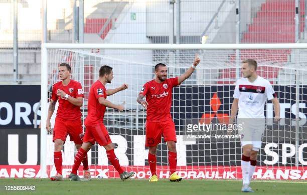 Robin Krausse of Ingolstadt celebrates after scoring his teams third goal during the 2. Bundesliga playoff second leg match between FC Ingolstadt and...