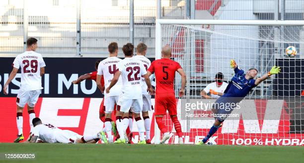 Robin Krausse of Ingolstadt heads his teams third goal during the 2. Bundesliga playoff second leg match between FC Ingolstadt and 1. FC Nürnberg at...