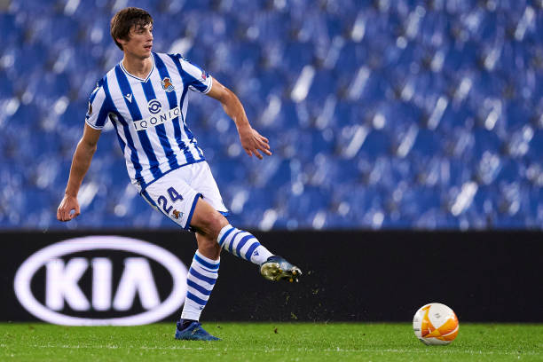 Robin Le Normand of Real Sociedad in action during the UEFA Europa League Group F stage match between Real Sociedad and AZ Alkmaar at Estadio Anoeta...
