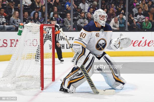 Robin Lehner of the Buffalo Sabres defends the net during a game against the Los Angeles Kings at STAPLES Center on October 14 2017 in Los Angeles...