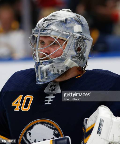 Robin Lehner of the Buffalo Sabres during the game against the Montreal Canadiens at the KeyBank Center on October 5 2017 in Buffalo New York