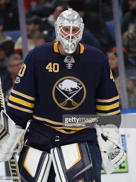 Robin Lehner of the Buffalo Sabres during the game against the Ottawa Senators at the KeyBank Center on December 12 2017 in Buffalo New York