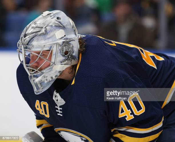 Robin Lehner of the Buffalo Sabres during the game against the Minnesota Wild at the KeyBank Center on November 22 2017 in Buffalo New York