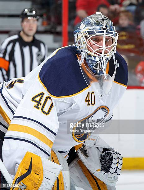 Robin Lehner of the Buffalo Sabres guards his net against the Ottawa Senators at Canadian Tire Centre on February 16 2016 in Ottawa Ontario Canada